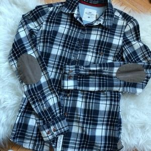 Plaid Button Down H&M Top Elbow Pad